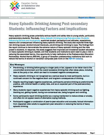 Summary of a report on high-risk drinking behaviours among post-secondary students.