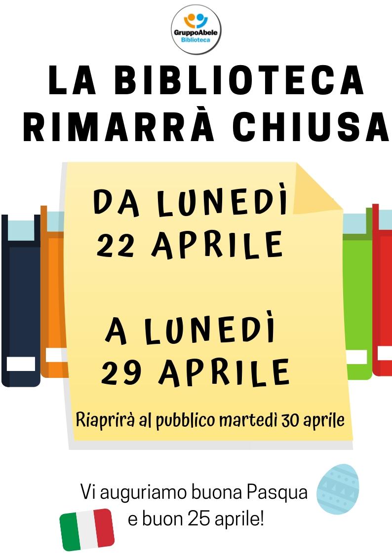 La biblioteca sarà chiusa da lunedì 22 aprile